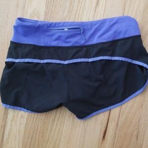 lululemon athletica Shorts - Lululemon SZ 4 Run Speed Up Shorts blue/black